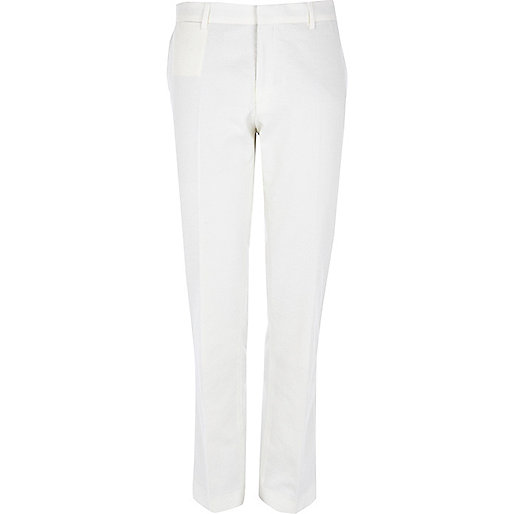 White slim suit trousers