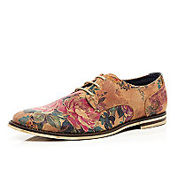 Brown floral print lace up shoes