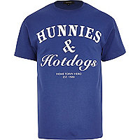 Blue hunnies & hotdogs print t-shirt