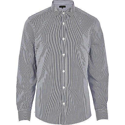 Navy blue stripe long sleeve shirt
