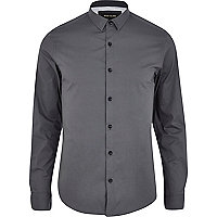 Grey stretch-cotton long sleeve shirt