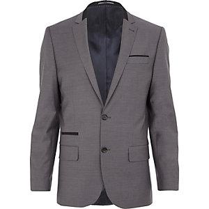 Grey contrast wool-blend slim suit jacket