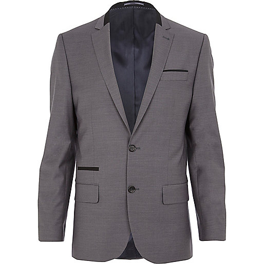 Grey contrast wool-blend slim suit jacket