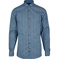 Blue Vito ditsy animal print shirt