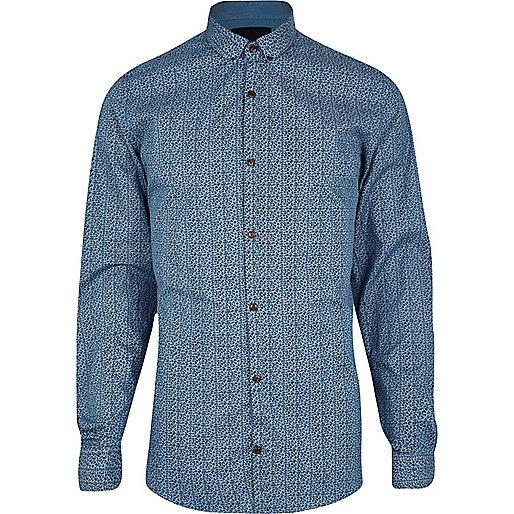 Blue Vito ditsy animal print shirt