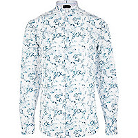 Light blue Vito floral skull print shirt