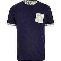 Navy Bellfield floral pocket t-shirt