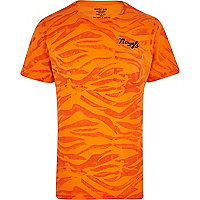 Orange Mowgli hand dyed tiger print t-shirt