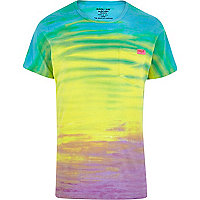 Rainbow horizon Mowgli hand dyed t-shirt