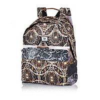 Brown Hype mirrored circle print backpack
