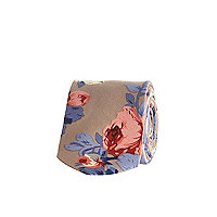 Taupe rose print tie