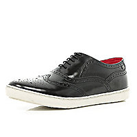 Black Base high shine brogue trainers