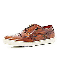 Brown Base high shine chunky sole brogues