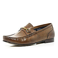 Brown Base snaffle trim loafers