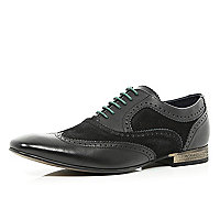 Black Base contrast panel lace up brogues