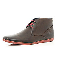 Brown Base contrast trim chukka boots
