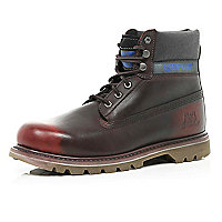 Dark red Cat worker boots