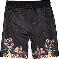 Black Hack renaissance border print shorts