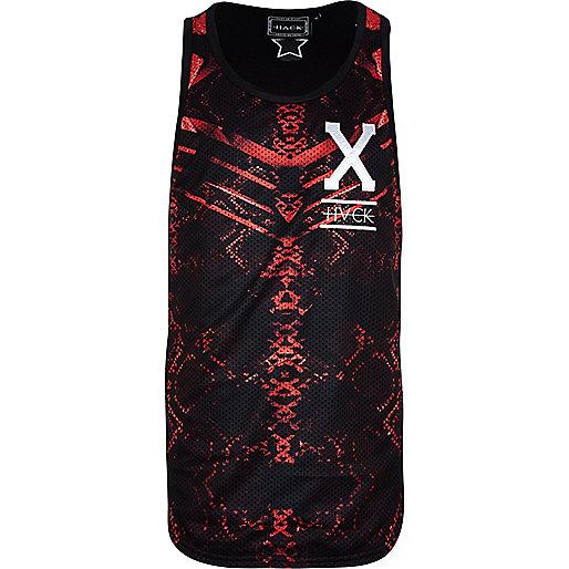 Black Hack abstract print mesh vest