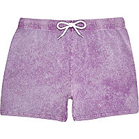 Purple acid wash jogger shorts