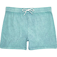 Turquoise acid wash jogger shorts