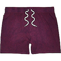Purple acid wash jersey shorts