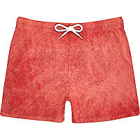 Red acid wash jogger shorts