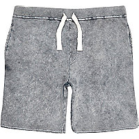 Dark grey acid wash jogger shorts