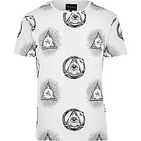 White Antioch pyramid eye print t-shirt