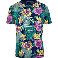 Navy Antioch tropical floral print t-shirt