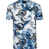 Blue Antioch snake tie dye print t-shirt