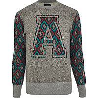 Grey Antioch print sleeve sweatshirt