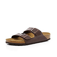 Brown Birkenstock double strap mule sandals
