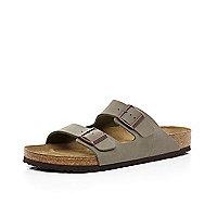 Stone Birkenstock double strap mule sandals