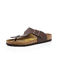 Brown Birkenstock T bar mule sandals
