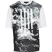 Grey mesh cloud oversize print t-shirt