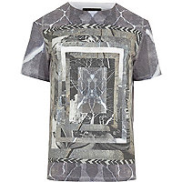 Grey mixed print frame t-shirt