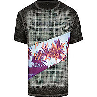 Black tartan punk wave print t-shirt