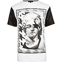 White renaissance head print t-shirt