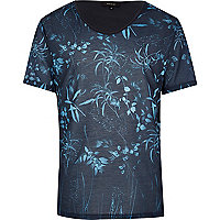 Black tonal leaf print t-shirt