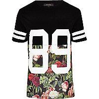 Black floral 89 print t-shirt