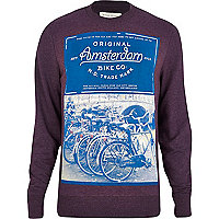 Purple Amsterdam bike print sweatshirt