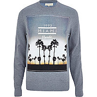 Light blue Miami Florida print sweatshirt