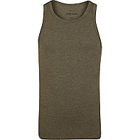 Green marl ribbed vest