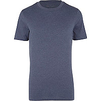 Navy marl crew neck t-shirt