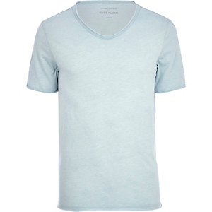 Light blue low scoop t-shirt