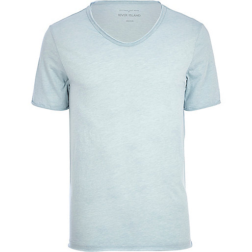 Light blue low scoop t-shirt