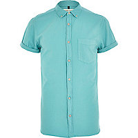 Turquoise short sleeve Oxford shirt