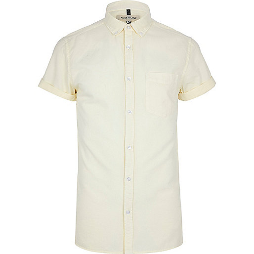 Light yellow short sleeve Oxford shirt