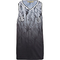 Grey football print V neck vest